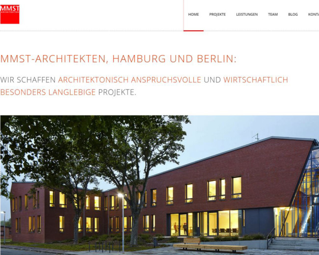 Website MMST ARCHITEKTEN nach Relaunch.